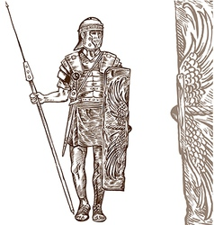 Roman warrior hand draw vector