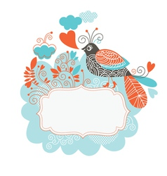 Frame for your text with bird and flowers vector