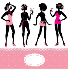 Set of fashionable girls silhouettes on a white vector