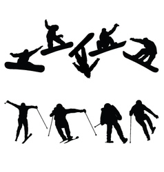 Snowboard and ski jumpers vector