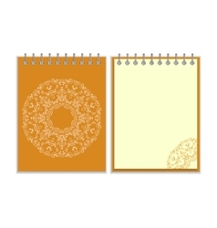 Orange cover notebook with round ornate pattern vector