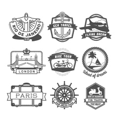 Travel badges set vector