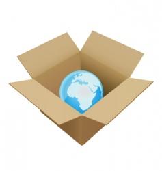 Shipping box in world vector
