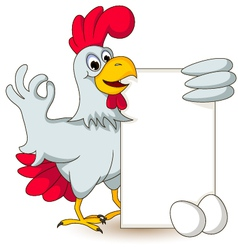 Funny chicken holding blank sign vector