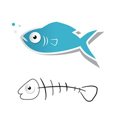 Paper cut fish and fishbone isolated on whit vector