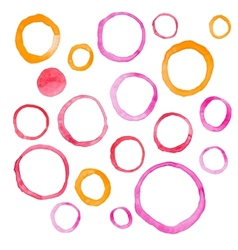 Hand draw watercolor rings circle round stains art vector