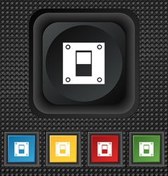 Power switch icon sign symbol squared colourful vector