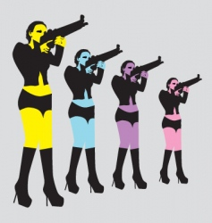 Sexy woman with gun vector