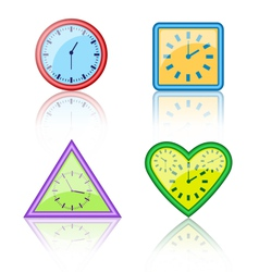 Bright multicolored different forms of clocks with vector