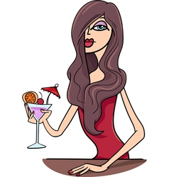 Woman with drink cartoon vector