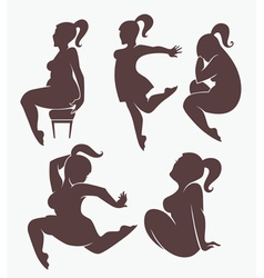 Beautiful woman silhouettes vector
