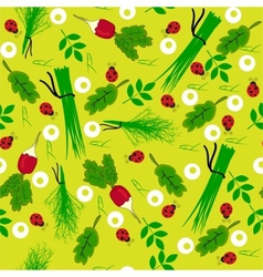 Seamless vegetables garden radish vector