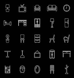 Furniture line icons on black background vector