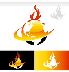 Swoosh fire earth logo icon vector