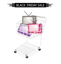 Retro television in black friday shopping cart vector
