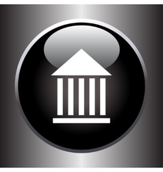 Museum flat simple icon on black button vector