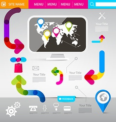 Web design template - technology infographics with vector