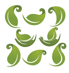 Green leaves signs and symbols collection vector