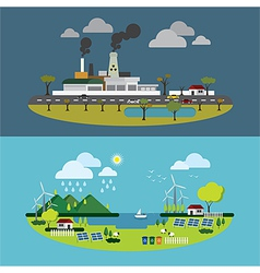Ecology of city technology and environment concept vector
