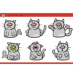 Cat emotions cartoon set vector