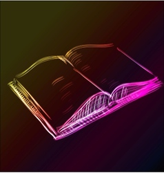 Open book glowing sketch icon vector