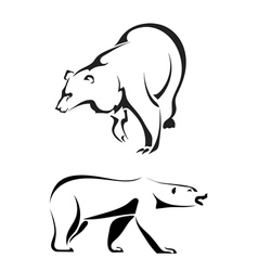 Silhouettes of bears on a white background vector