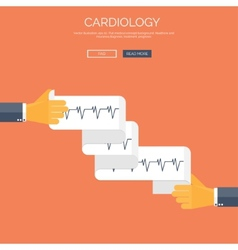 With cardiogramm flat health vector