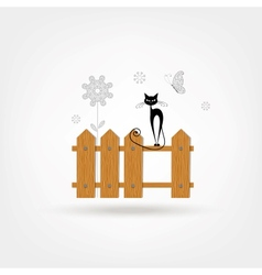 Wooden boards cat fence vector