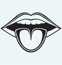 Open mouth tooth and tongue vector