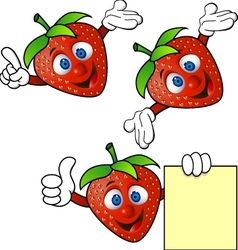 Strawberry cartoon character vector
