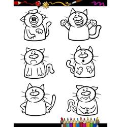 Cats emotion set cartoon coloring book vector