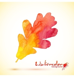 Orange watercolor painted oak leaf vector