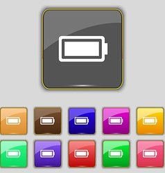 Battery fully charged icon sign set with eleven vector
