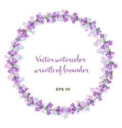 Watercolor wreath of lavender vector