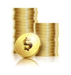 Coins gold dollar vector