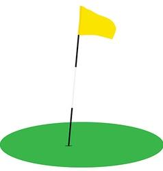 Yellow golf flag on green grass vector