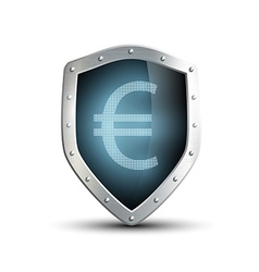 Metal shield with the image of euro isolated on vector