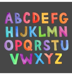 Watercolor colorful handwritten alphabet vector