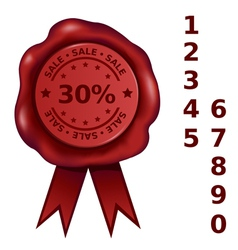 Sale percent wax seal vector