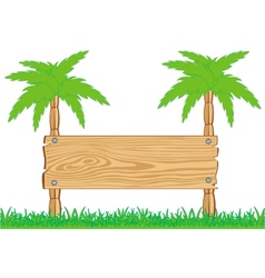 Wooden board and palms vector