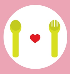 Red heart with spoon and fork vector