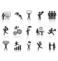 Black working businessman icons set vector