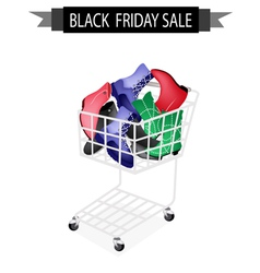 Women shoes in black friday shopping cart vector