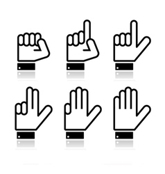 Counting hand signs - isolated on white vector