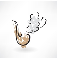 Tobacco pipe grunge icon vector