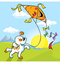Dog with kite vector