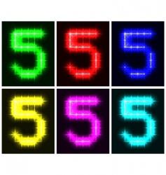Number 5 symbols vector