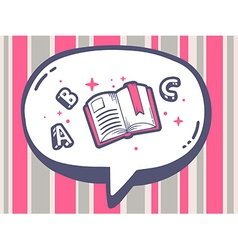 Bubble with icon of open book on pink pat vector