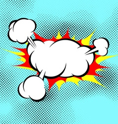 Pop art explosion boom cloud comic book background vector