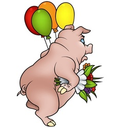 Piglet and bouquet vector